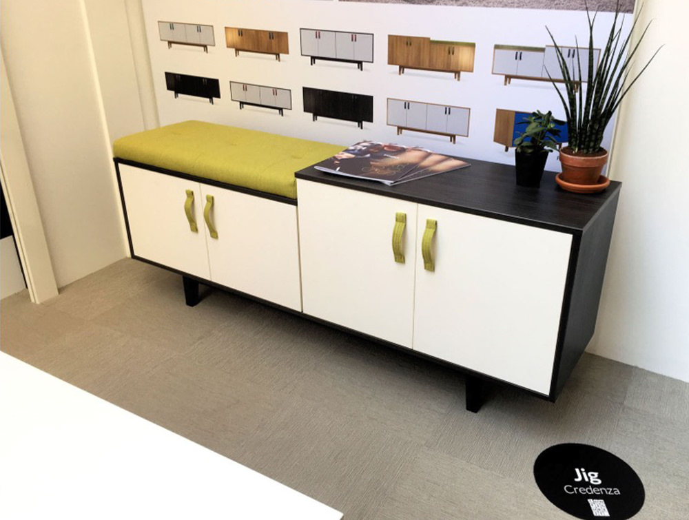 Frovi-Jig-Credenza-Low-High-Storage-Unit-with-Black-Cabinet-and-White-Doors-with-Yellow-Half-Seat-Pads-in-Showroom
