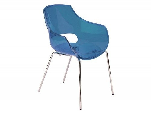 G90TB Globe Stackable Translucent Armchair in Blue