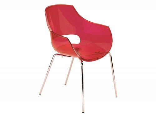 G90TR Globe Stackable Translucent Armchair in Red