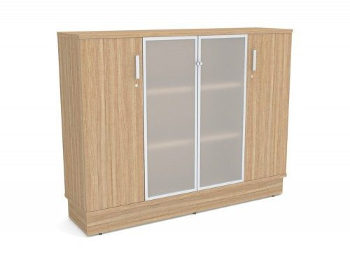 GR-13 Grand Executive 3-Level Storage Unit with Frosted Glass Doors with Frosted Glass Doors