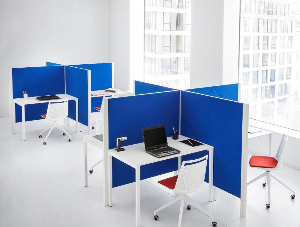 Gaber Diamante Acoustic Blue Wall Panel as Desk Partitions for Office