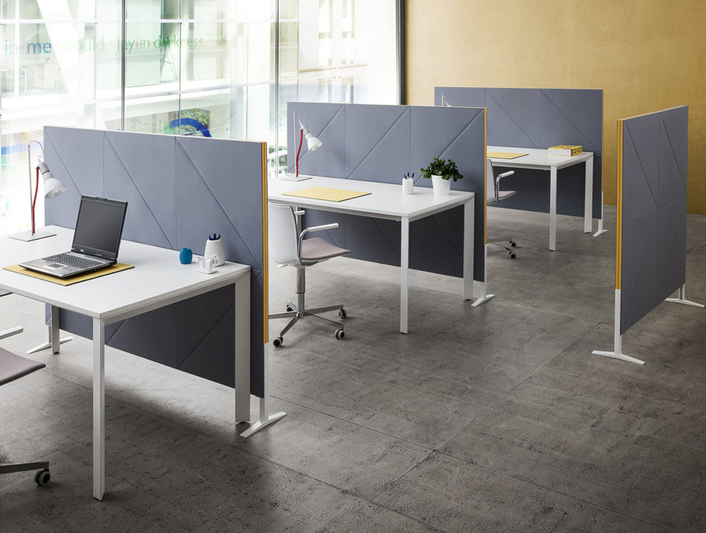 Gaber Diamante Acoustic Grey Wall Panel as Desk Partitions in Office Interiors with Laptops and Chairs