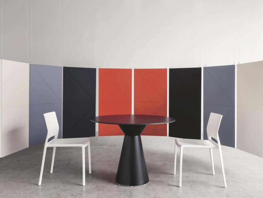 Gaber Diamante Acoustic Hanging Wall Panels Multicolour with Table and Chair