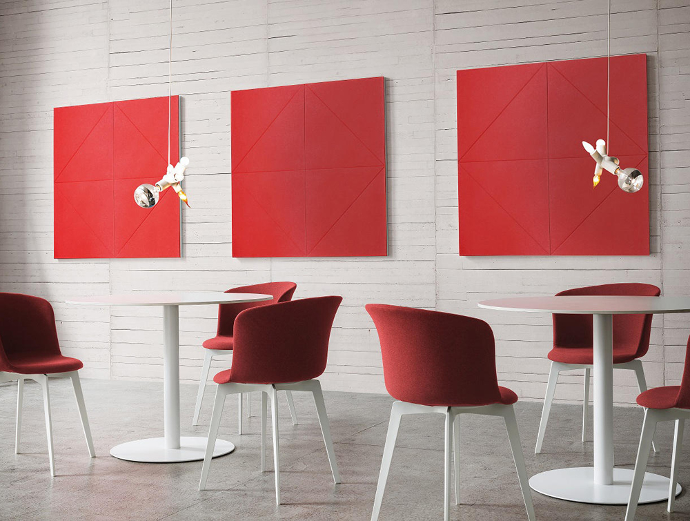 Gaber Diamante Acoustic Red Wall Panels with Canteen Chair and Tables