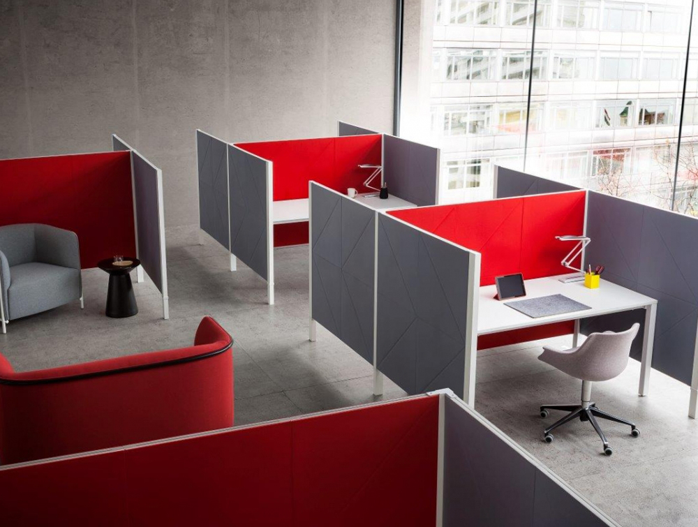 Gaber Diamante Acoustic Wall Panel as Desk Partitions in Office Interiors in Red and Grey