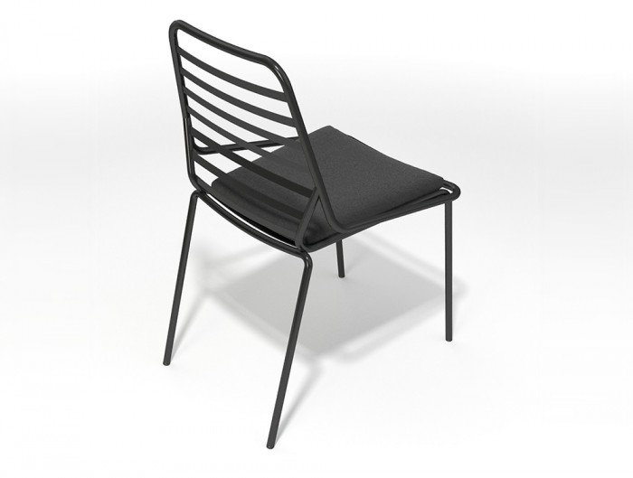 Gaber-Link-Stackable-Outdoor-Chair-without-Armrests-in-Black-Metal-Finish-and-Upholstered-Black-Cushion-Top-View