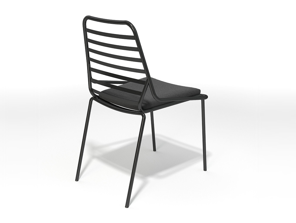 Gaber-Link-Stackable-Outdoor-Chair-without-Armrests-in-Black-Metal-Finish-and-Upholstered-Black-Cushion
