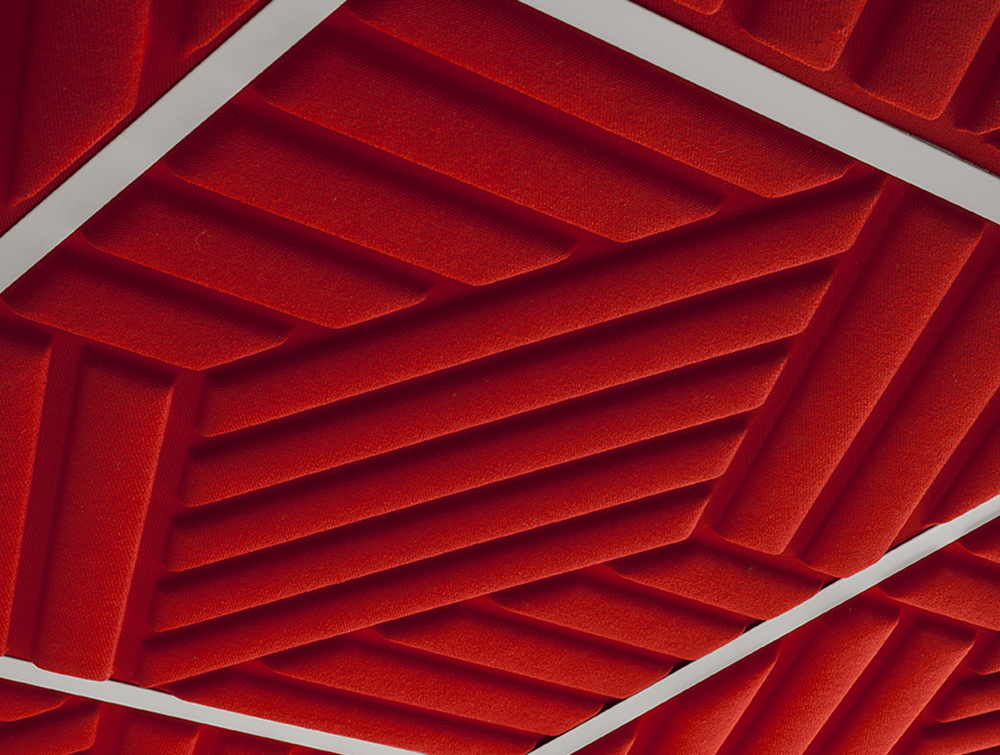 Gaber Madison Acoustic Cherry Red Suspended Ceiling Panel Closeup Details