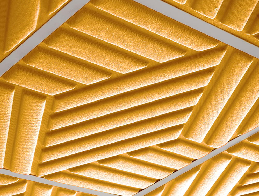 Gaber Madison Acoustic Golden Yellow Ceiling Panel Closeup Details