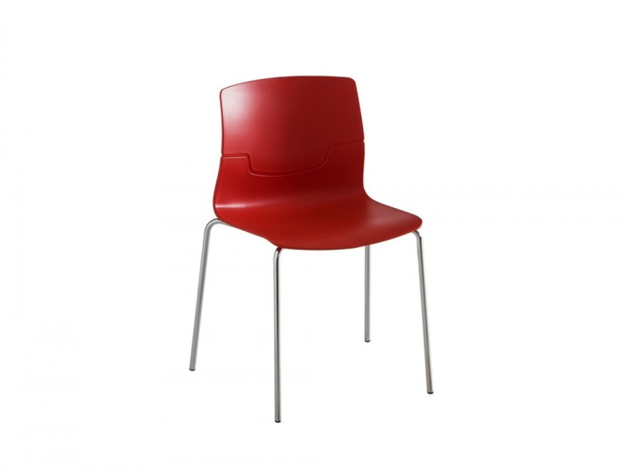 Gaber-Slot-Stacking-Canteen-Chair-without-Armrests-in-Red-with-Metal-Legs