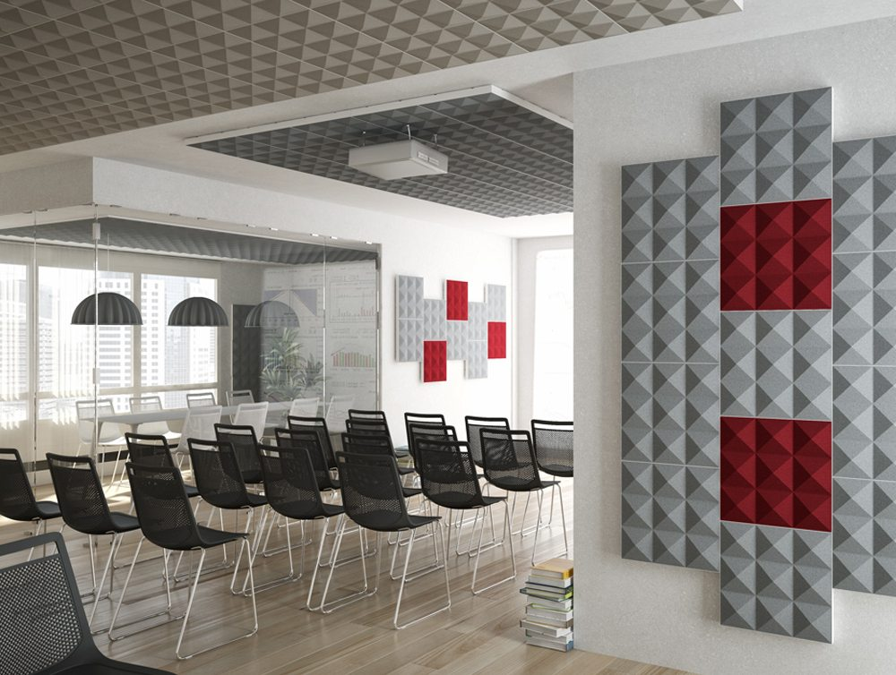 Gaber Stilly Acoustic Wall Panels in red and grey