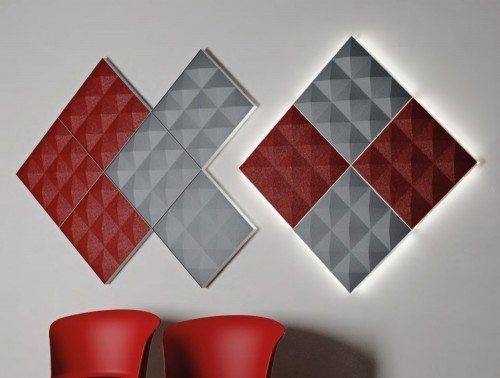 Gaber Stilly Brilliant Acoustic Wall Panels in red and grey