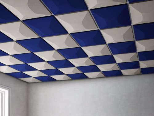 Gaber Uniko Pyramid Acoustic Suspended Ceiling Tiles in Blue and White