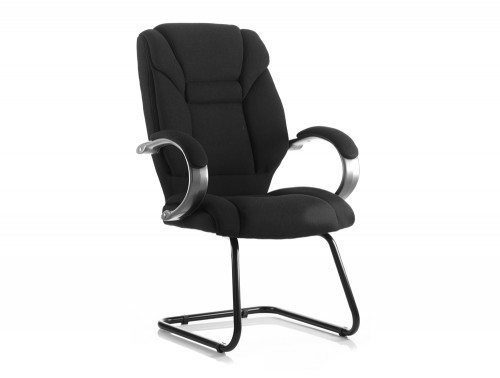Galloway Visitor Cantilever Chair Black Fabric With Arms Featured Image