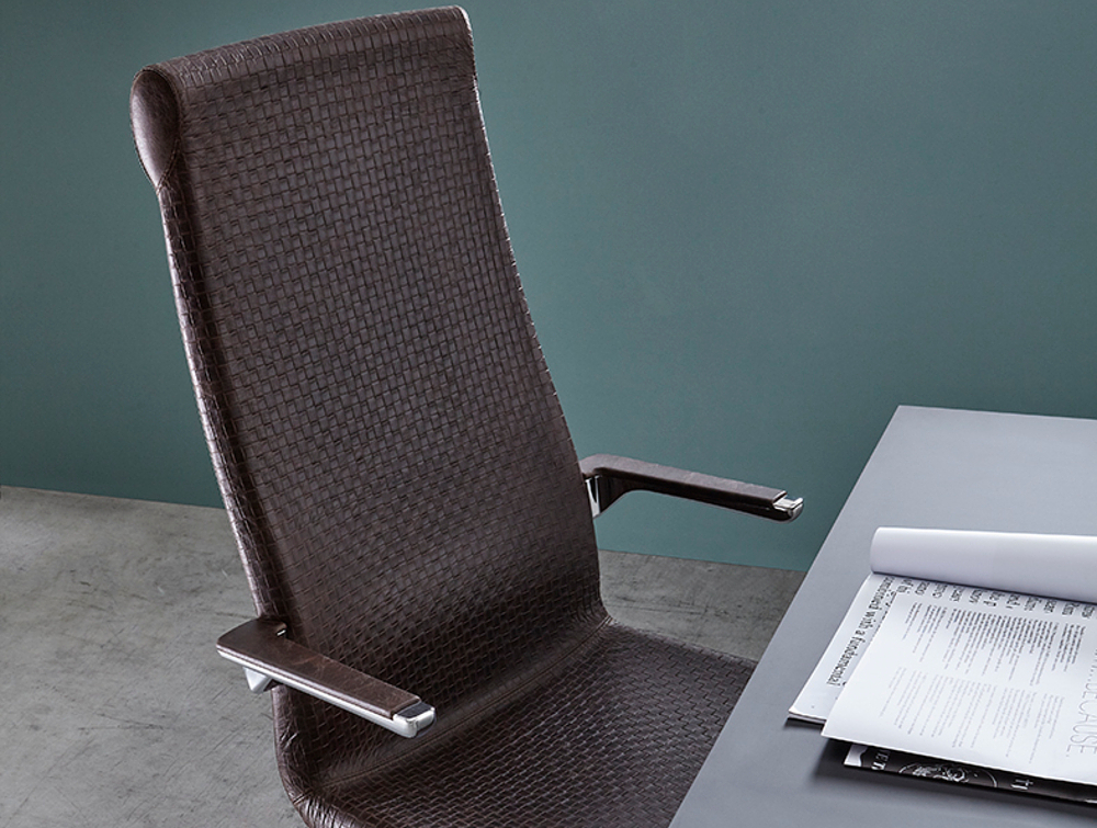 Grace Executive Office Chair 4 in Dark Brown with Black Table in Working Area.jpg