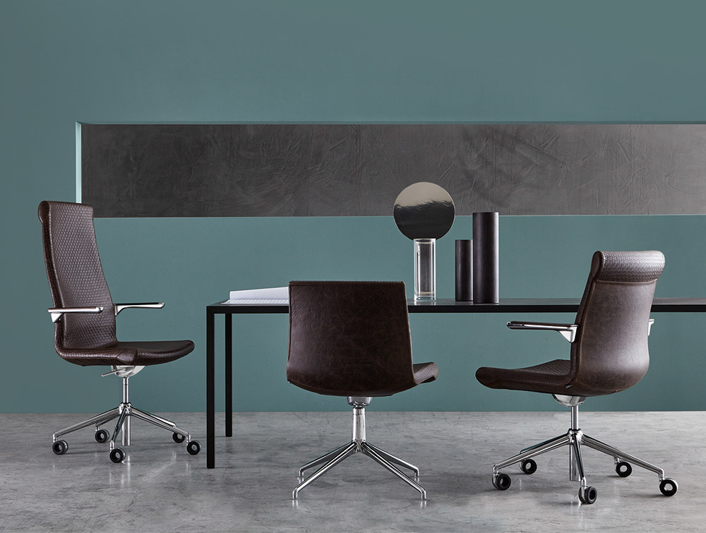Grace Manager Office Chair 2 in Dark Brown with Long Table in Open Space Office.jpg