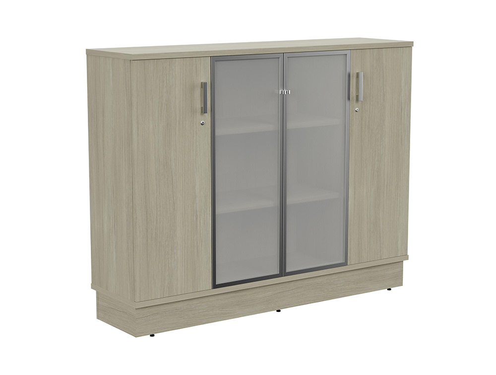 Grand Executive 3-Level Storage Unit with Frosted Glass Doors - Arctic Oak