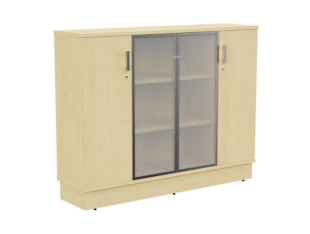 Grand Executive 3-Level Storage Unit with Frosted Glass Doors - Maple