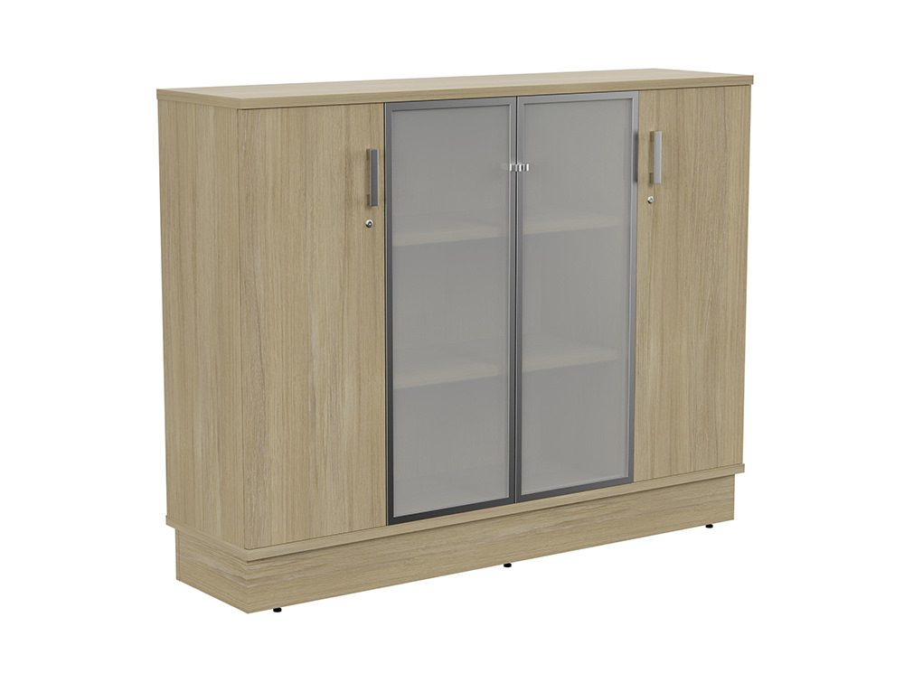 Grand Executive 3-Level Storage Unit with Frosted Glass Doors - Urban Oak