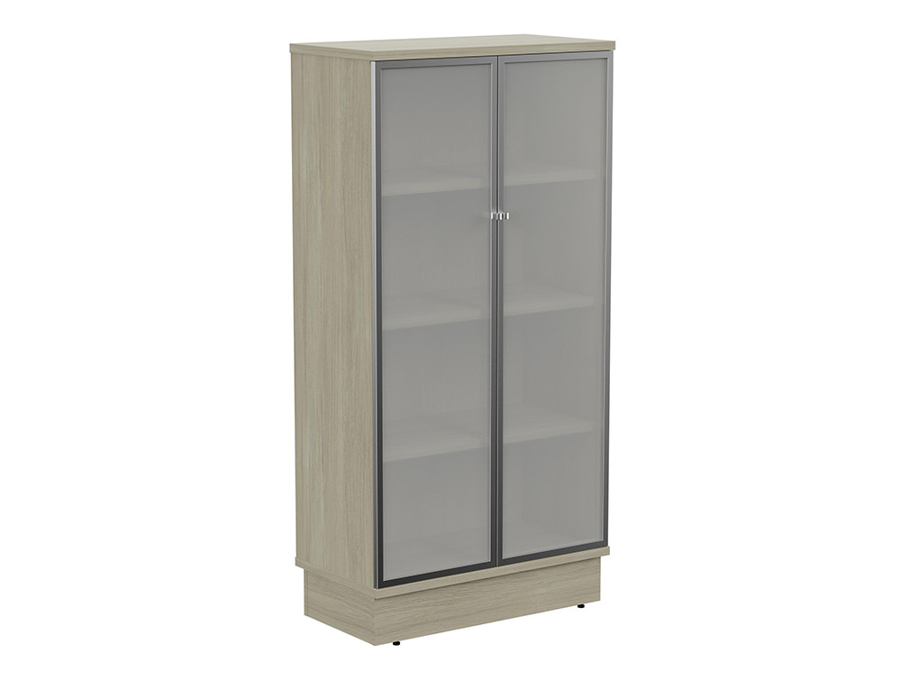 Grand Executive 4-Level Cupboard with Frosted Glass Doors - Arctic Oak