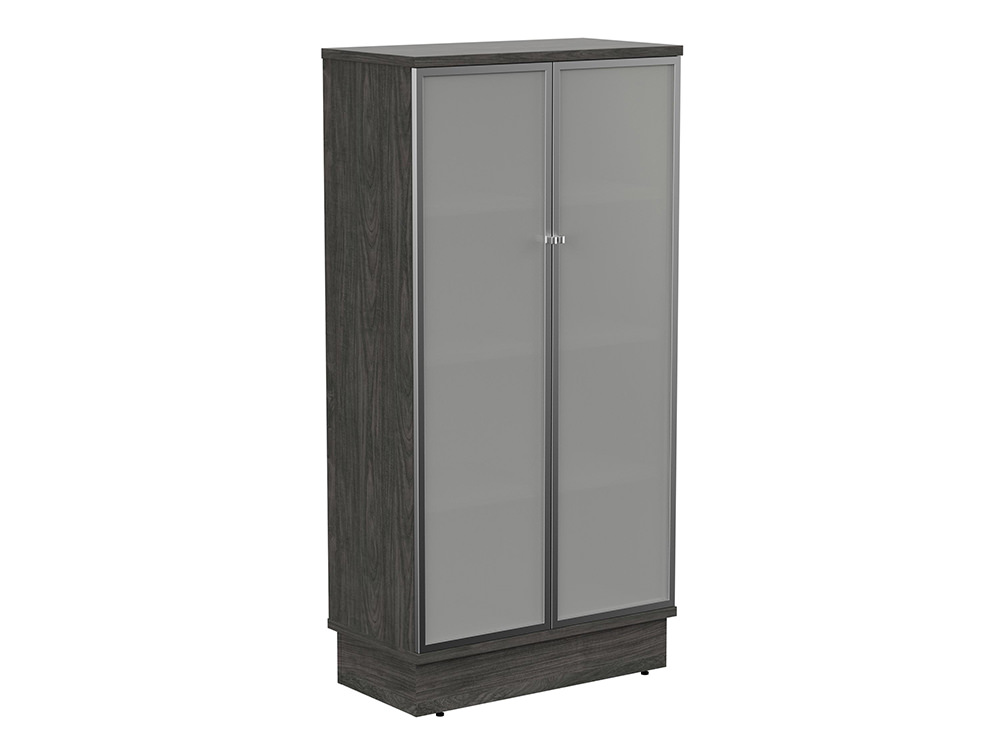 Grand Executive 4-Level Cupboard with Frosted Glass Doors - Carbon Walnut