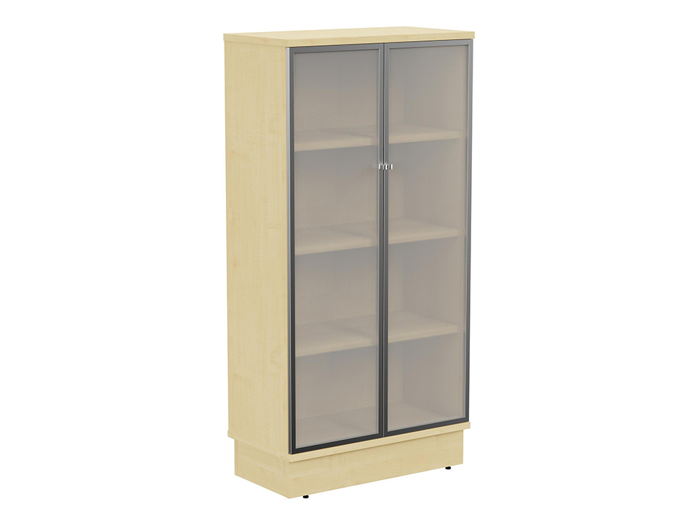 Grand Executive 4-Level Cupboard with Frosted Glass Doors - Maple