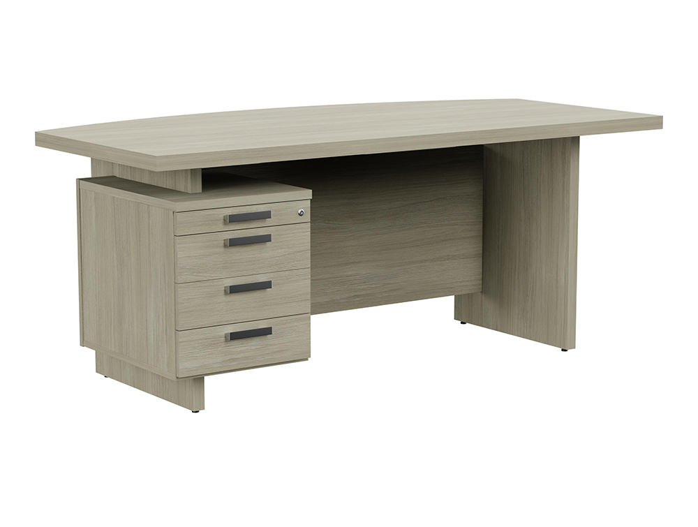 Grand Executive Bow-Front Desk with Pedestal - Arctic Oak - Left