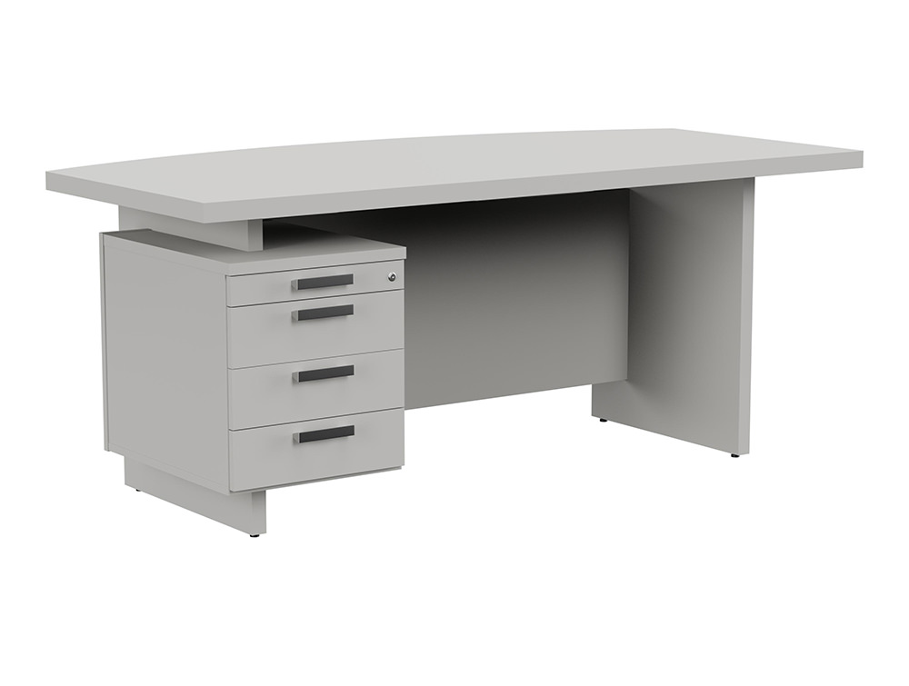 Grand Executive Bow-Front Desk with Pedestal - Grey - Left