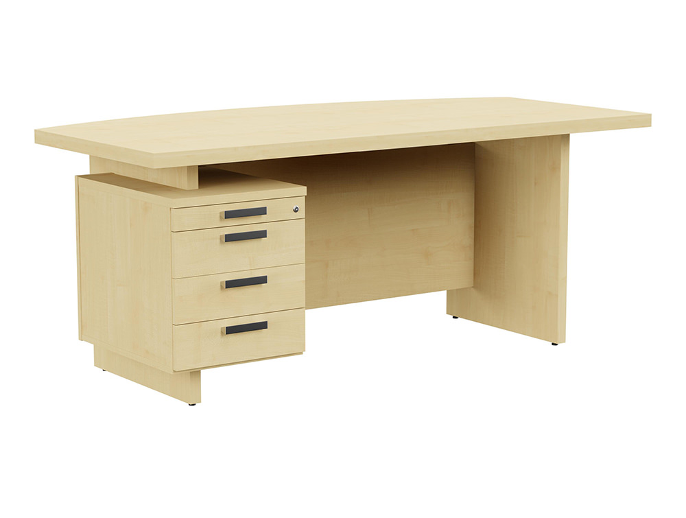 Grand Executive Bow-Front Desk with Pedestal - Maple - Left