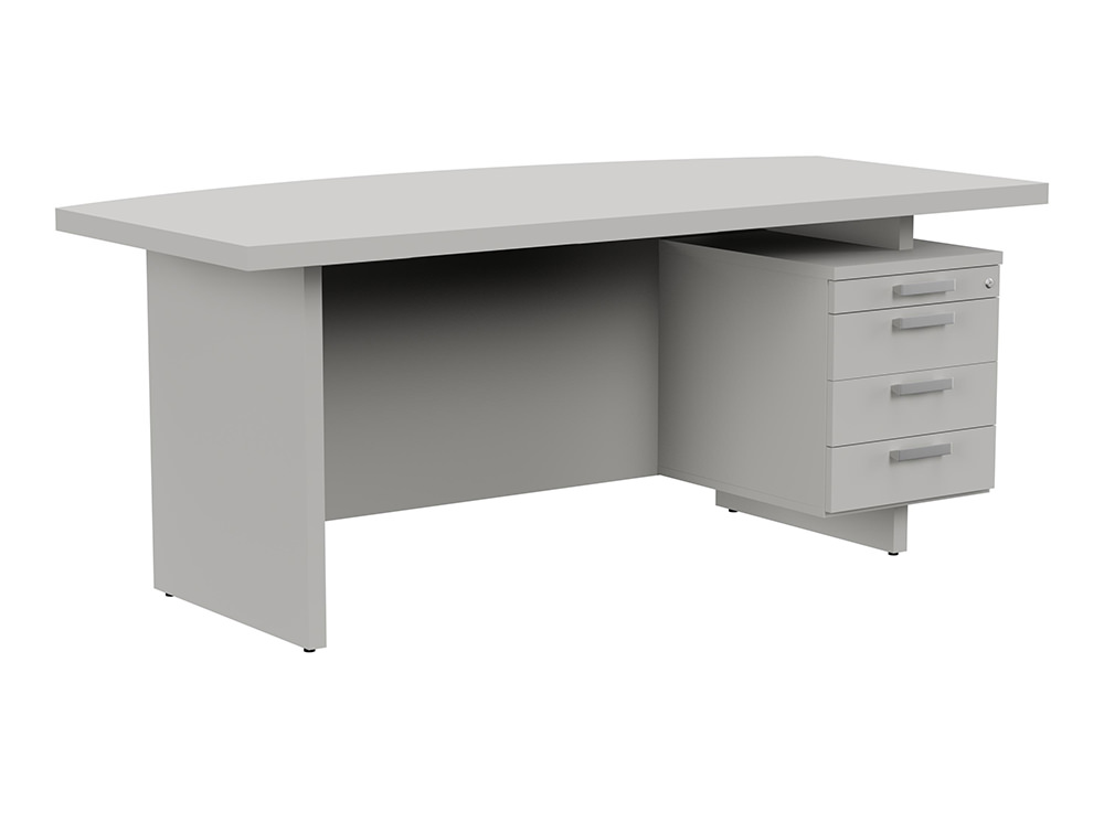 Grand Executive Bow-Front Desk with Pedestal - Grey - Right