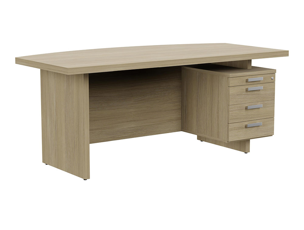 Grand Executive Bow-Front Desk with Pedestal - Urban Oak - Right