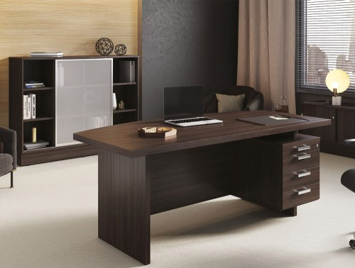 Grand Executive Collection Office Desk with Pedestal and Storage Unit with Frosted Glass Sliding Doors and Lounge Chair in Dark Walnut