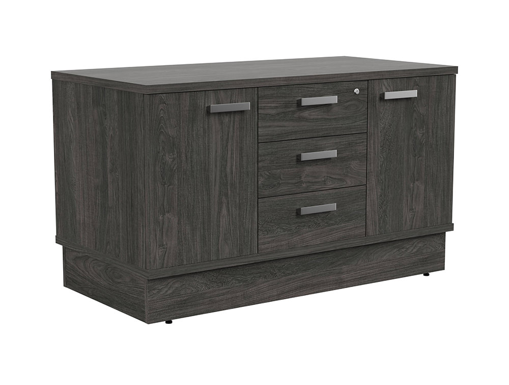 Grand Executive Cupboard and Drawer Storage Unit - Carbon Walnut