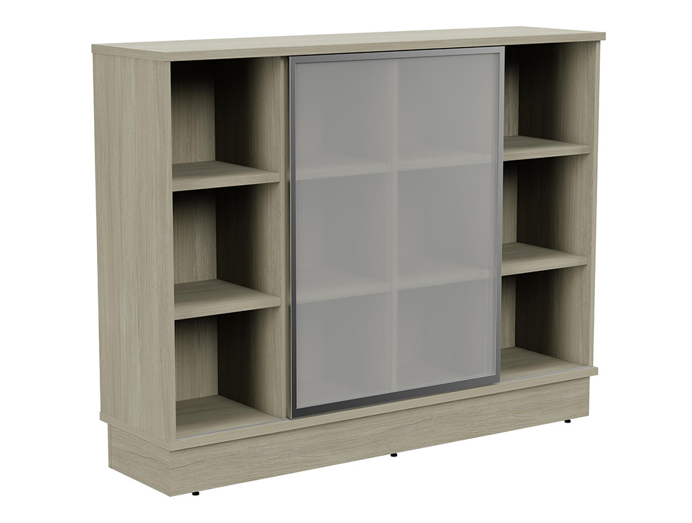 Grand Executive 3-Level Storage Unit with Frosted Glass Sliding Doors - Arctic Oak