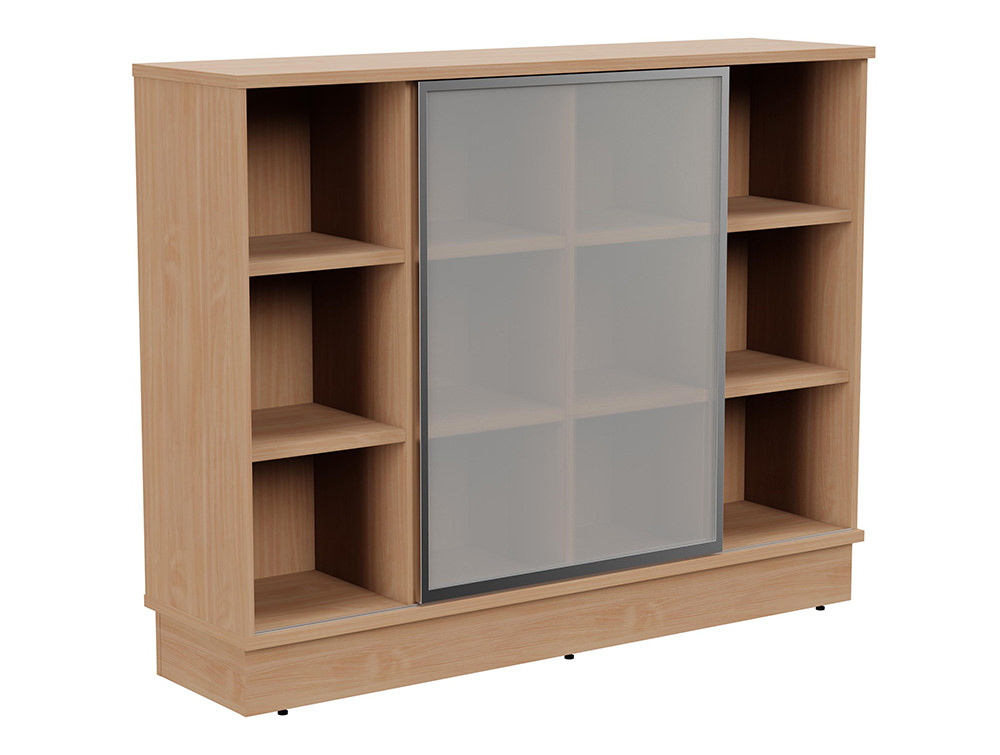 Grand Executive 3-Level Storage Unit with Frosted Glass Sliding Doors - Beech