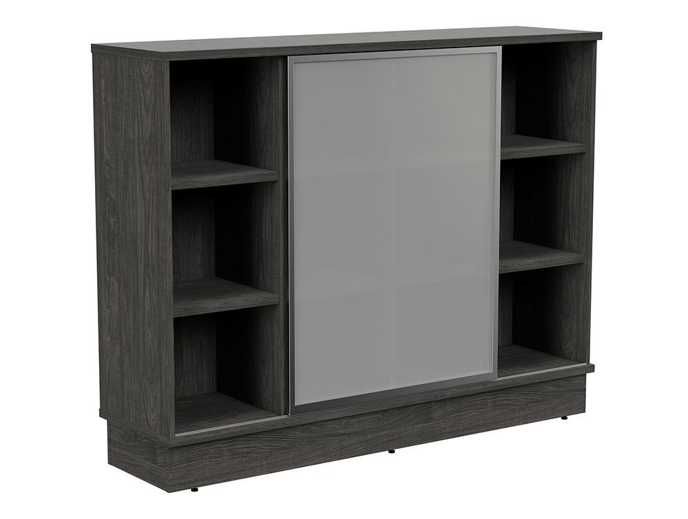 Grand Executive 3-Level Storage Unit with Frosted Glass Sliding Doors - Carbon Walnut