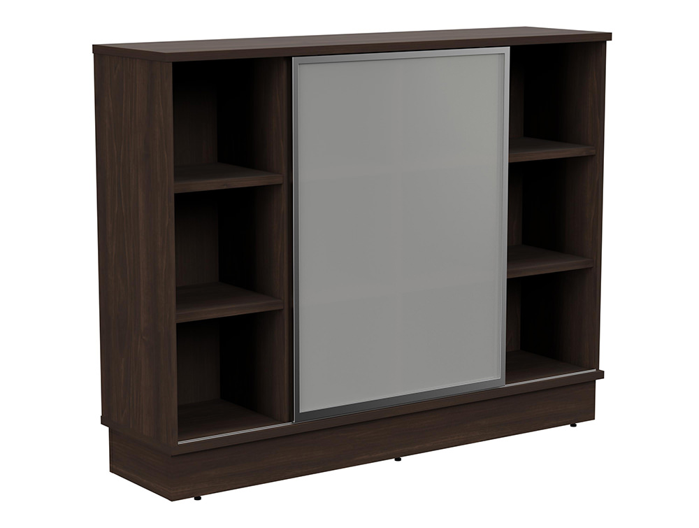 Grand Executive 3-Level Storage Unit with Frosted Glass Sliding Doors - Dark Walnut