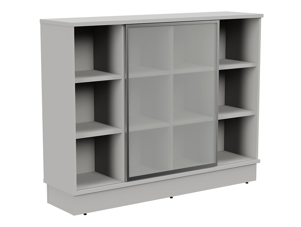 Grand Executive 3-Level Storage Unit with Frosted Glass Sliding Doors - Grey