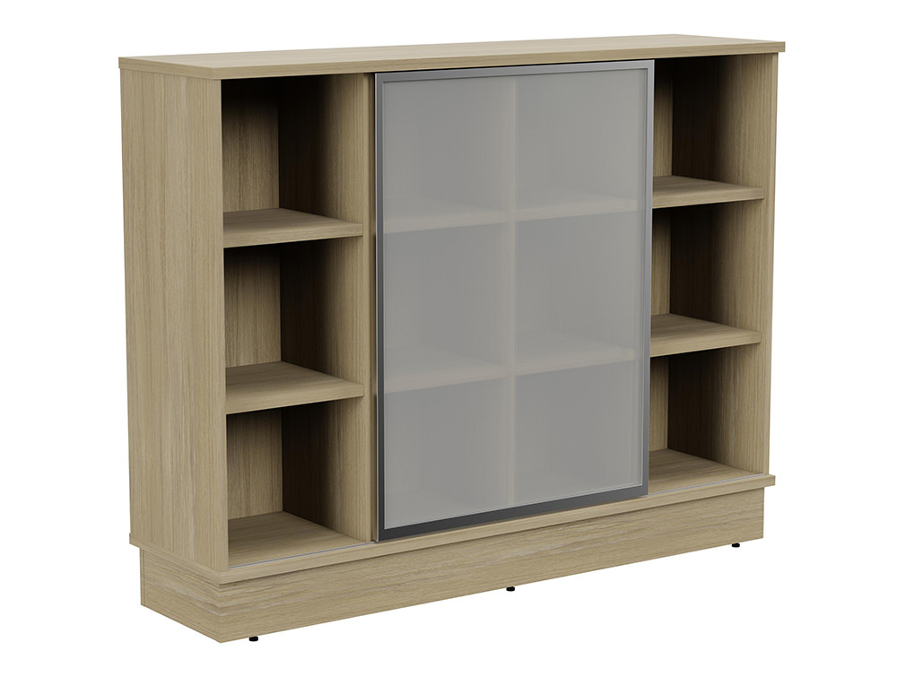 Grand Executive 3-Level Storage Unit with Frosted Glass Sliding Doors - Urban Oak