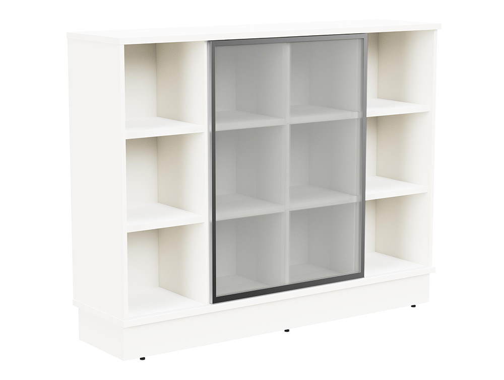 Grand Executive 3-Level Storage Unit with Frosted Glass Sliding Doors - White