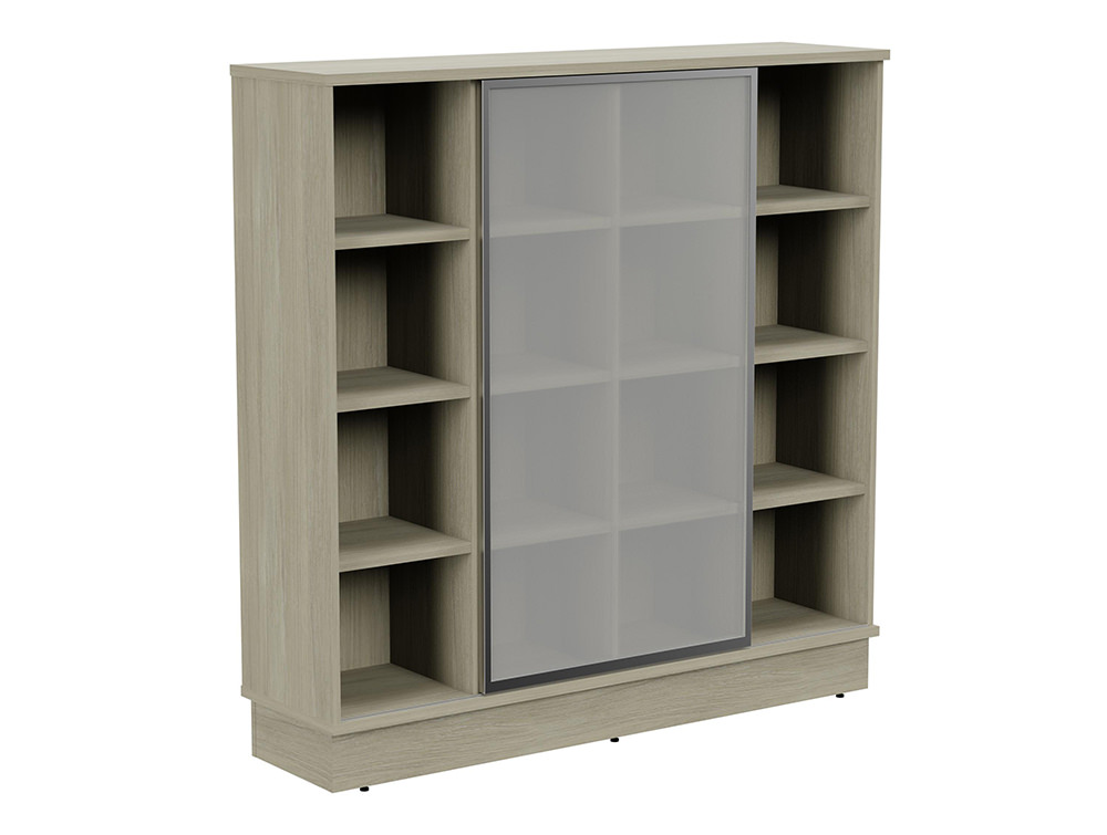 Grand Executive 4-Level Storage Unit with Frosted Glass Sliding Doors - Arctic Oak