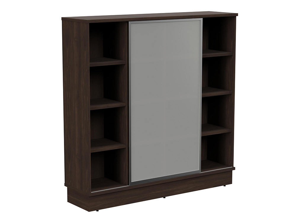 Grand Executive 4-Level Storage Unit with Frosted Glass Sliding Doors - Dark Walnut
