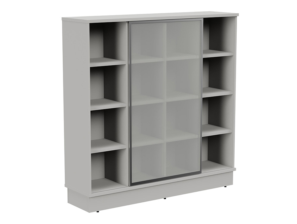 Grand Executive 4-Level Storage Unit with Frosted Glass Sliding Doors - Grey