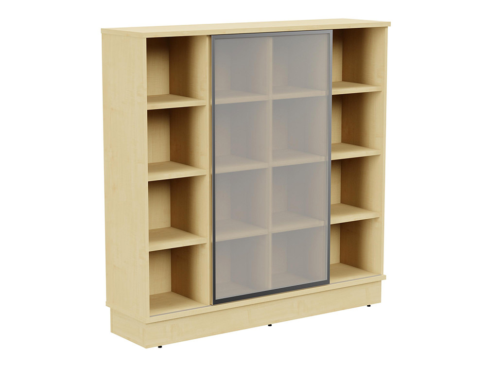Grand Executive 4-Level Storage Unit with Frosted Glass Sliding Doors - Maple