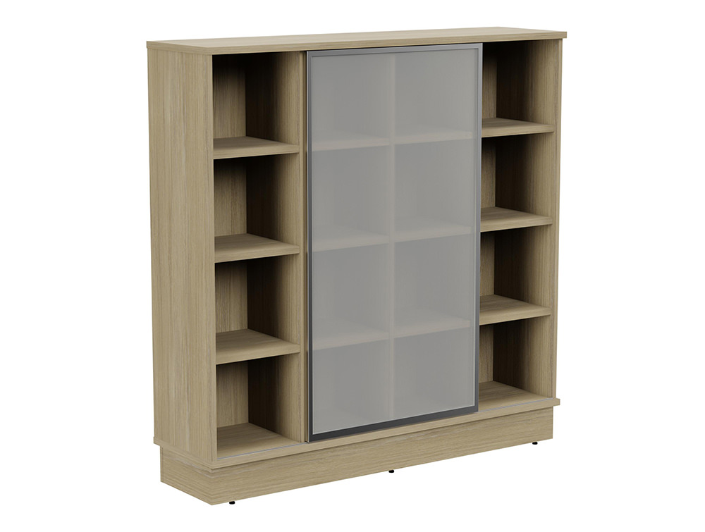 Grand Executive 4-Level Storage Unit with Frosted Glass Sliding Doors - Urban Oak
