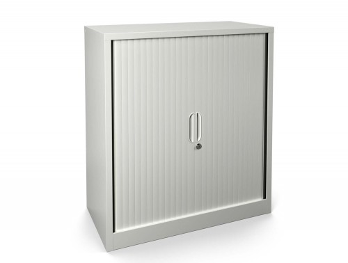 Graviti Contract 1000mm Side Tambour Cupboard Chalky White Assembled1