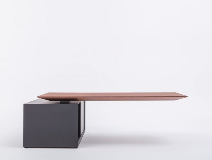 Gravity-Electric-Sit-Stand-Executive-Manager-Desk-with-Side-Storage-with-Wood-Finish-Table-and-Graphite-Storage-Base-Side-View