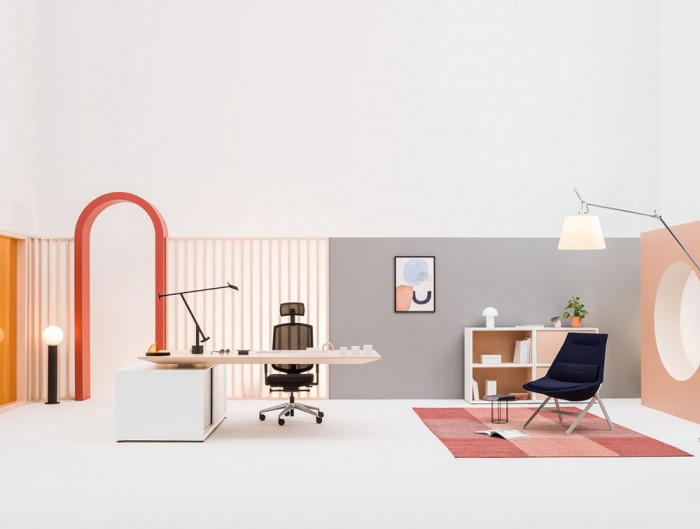 Gravity-Electric-Sit-Stand-Executive-Manager-Desk-with-Side-Storage-with-Wood-Finish-Table-and-White-Storage-Base-in-Office-Showroom