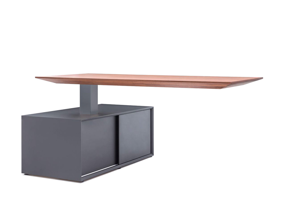 Gravity Electric Sit-Stand Executive Manager Desk with Side Storage