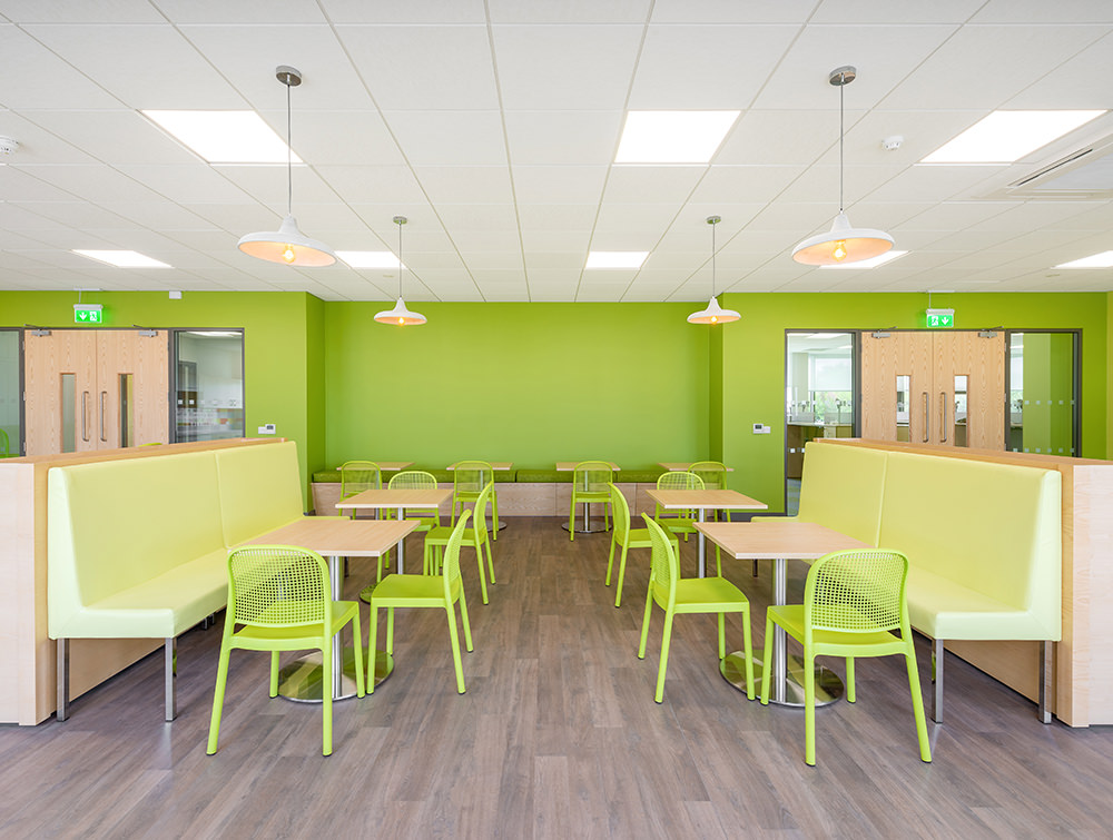 Green Gaber Panama Canteen Chairs with Rectangular Cafe Tables